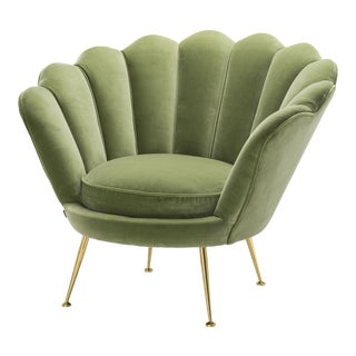 Green Scalloped Accent Chair | Eichholtz Trapezium For Sale