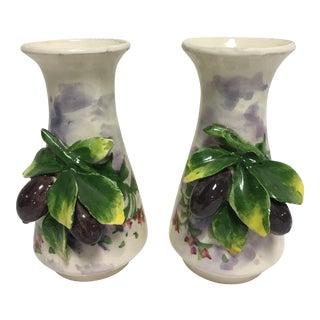 Italian Barbotine Vases - a Pair