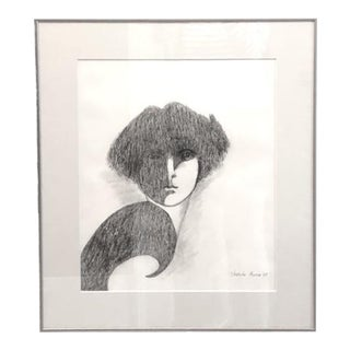 1990s Night Watch Pencil Drawing by Velleda Owen For Sale