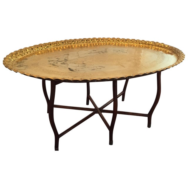 Large Oval MCM Brass Tray Coffee Table - Image 1 of 10
