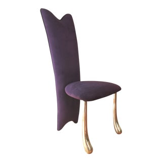 1980s Contemporary Purple High-Back Side Chair For Sale