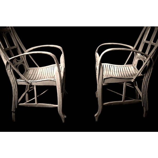 Pair of Large Elegant White Cane Conservatoire Chairs - France, early 20th Century - Image 6 of 8