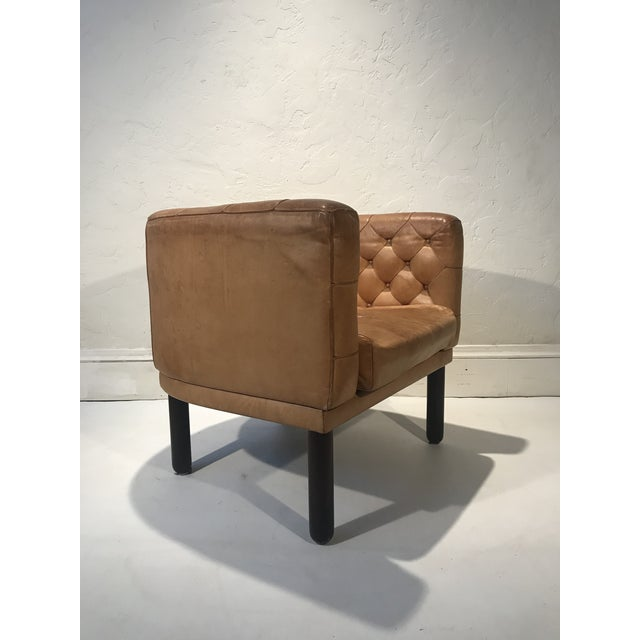 1960s Vintage Cassina Figli DI Amedeo Tufted Leather Club Chair For Sale - Image 10 of 12