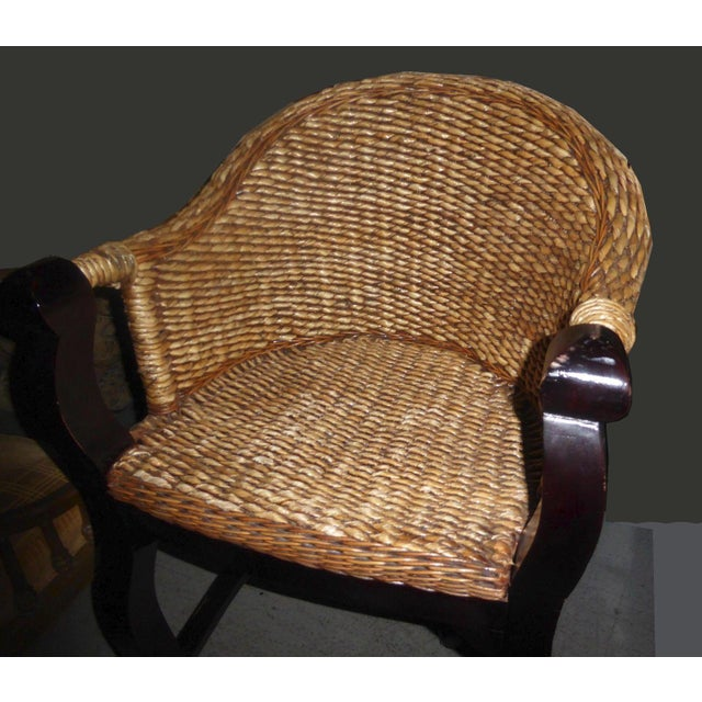 Tiki Palm Beach Style Woven Wicker Bar Stools - A Pair - Image 7 of 11