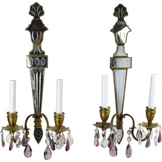 Venetian Style Torch Shape Mirror Back Sconces - A Pair
