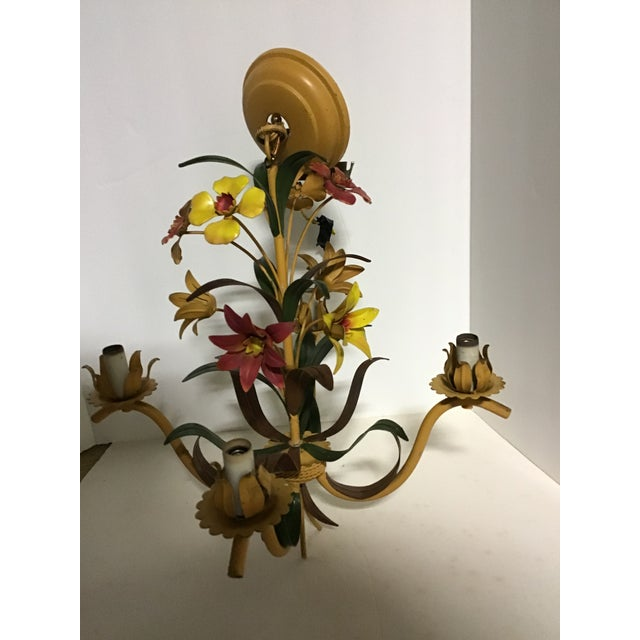 Green French Tole Ware Hand Painted Chandelier For Sale - Image 8 of 8