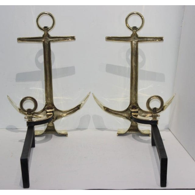 Puritan Brass Anchor Form Andirons in the Style of Puritan, the Pair For Sale - Image 4 of 13