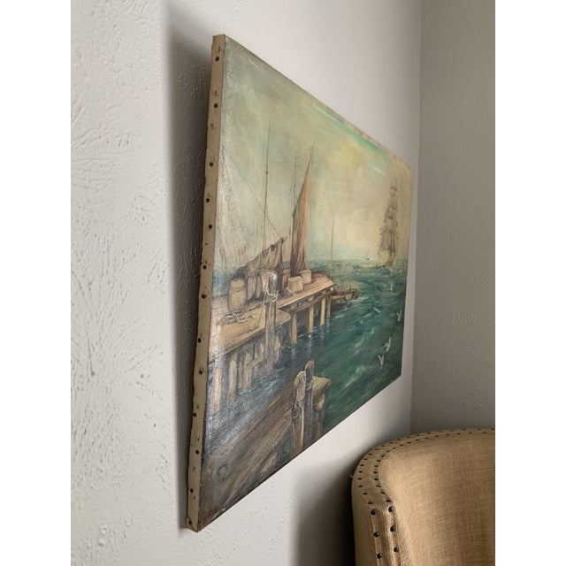 Blue Rustic Vintage Sailing Ship Painting Oil on Canvas Signed by Artist J H Johnson For Sale - Image 8 of 13