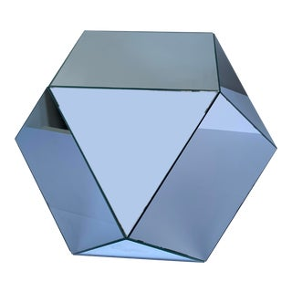 Vintage Multifaceted Mirrored Polyhedron Accent Table For Sale