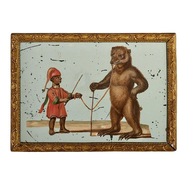 19th C. French Exotic Hand-Painted Decoupage Mirror, Animal Trainer & Bear For Sale