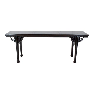 Baker Ebonized Carved Walnut Asian Motive Long Console Sofa Table For Sale