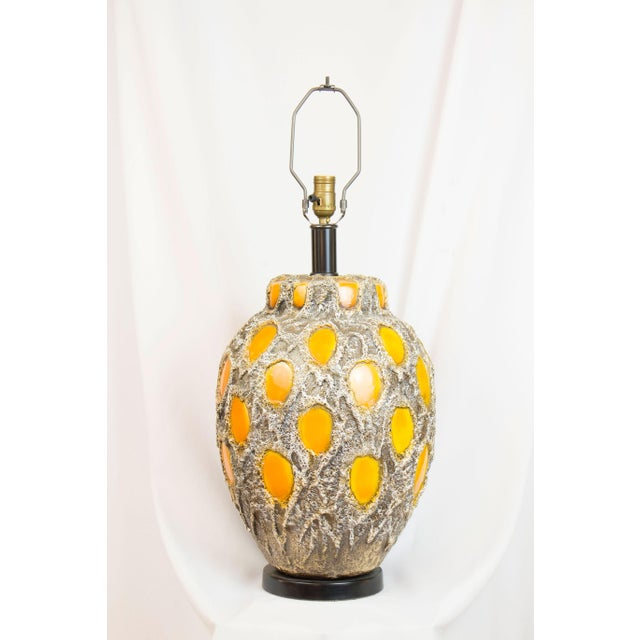 Large Ceramic Lamp made by Stangl. C. 1970 Completely Restored and Rewired.