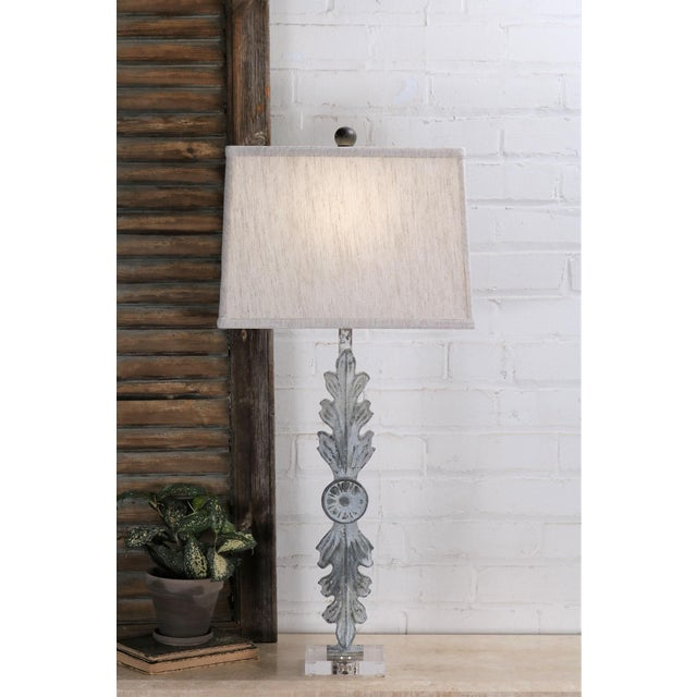 2010s Leaf Iron Table Lamp With Acrylic Base and Linen Shade For Sale - Image 5 of 6