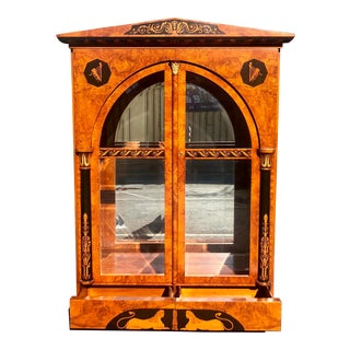 Huge Giemme Italian Neoclassical Style Break Front China Cabinet For Sale