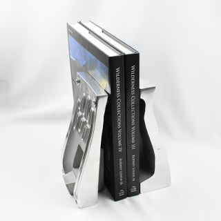 Industrial Polished Stainless Steel Hand Mold Sculpture Bookends, a Pair Preview