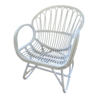 Vintage White Franco Albini Style Bentwood Chair For Sale