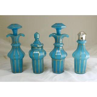 Sterling Silver & Blue Opaline Glass Cruet Set Preview