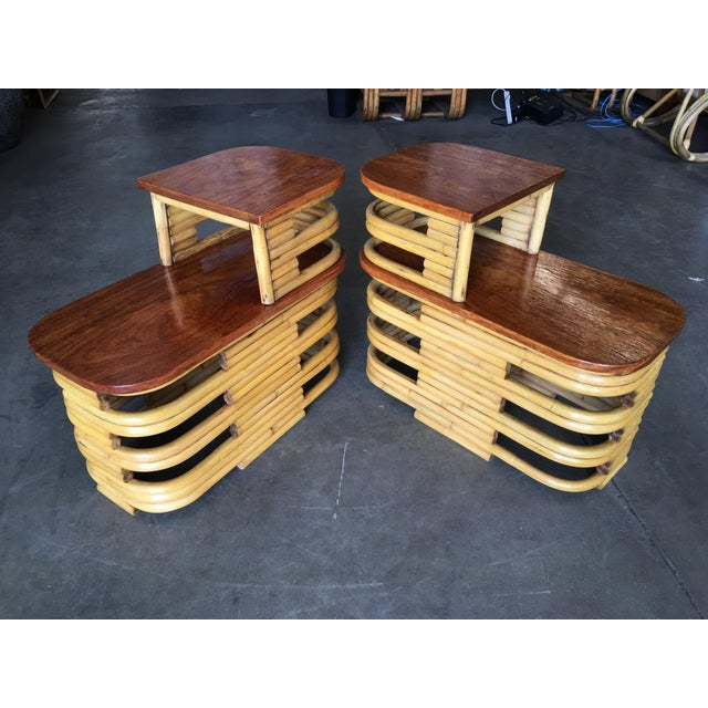 Stacked Rattan Side Table With Cut Outs - a Pair For Sale - Image 9 of 9