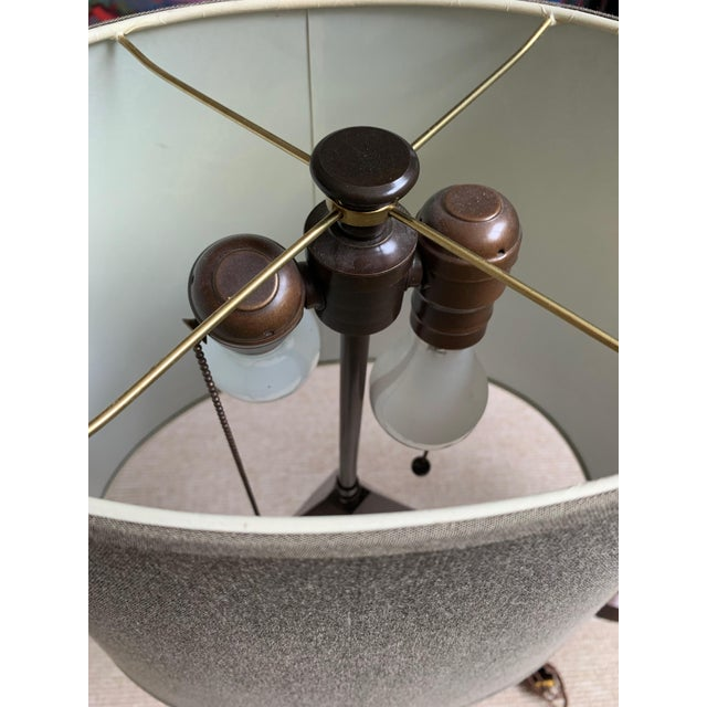 Stephen McKay Geometric Walnut Custom Table Lamps with Shades - a Pair For Sale In Boston - Image 6 of 7