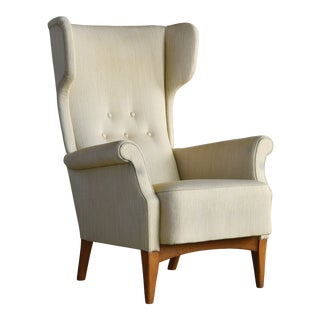 Fritz Hansen 1950s Wingback Chair Model 8023 in Teak Danish Midcentury For Sale