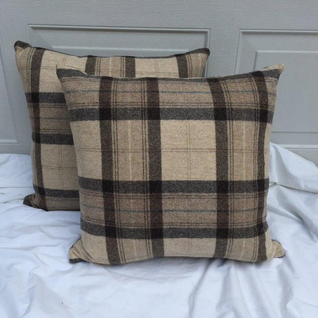 Scottish Wool Plaid Pillows - A Pair For Sale - Image 5 of 5