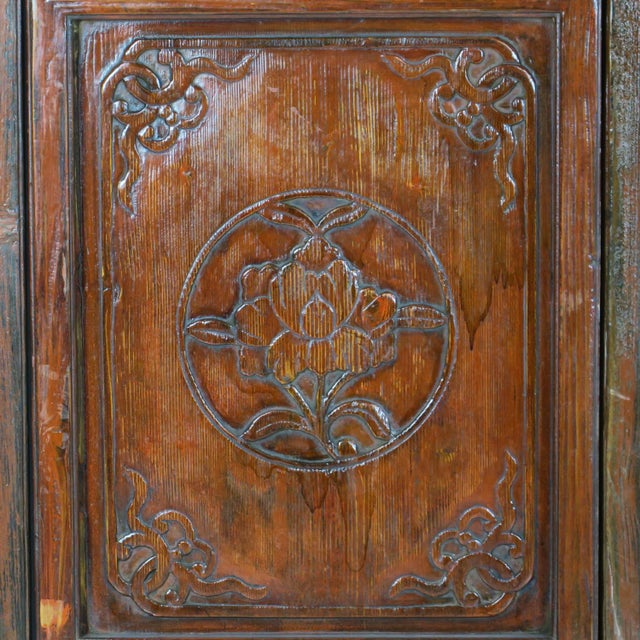 Brown Early 20th Century Antique Chinese Carved Courtyard Doors For Sale - Image 8 of 13