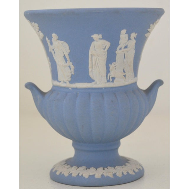 Antique Wedgwood Jasperware Blue White Urn Vase England Miniature