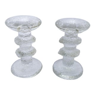 1966 Timo Sarpaneva for Iittala Glass Candlesticks- A Pair For Sale