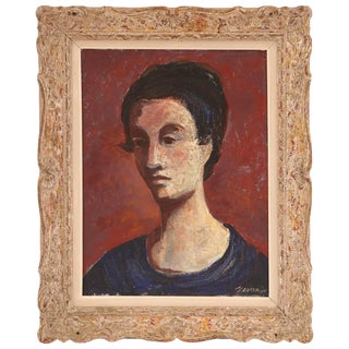 1940s Vintage Germaine Verna Double Sided Oil Painting For Sale