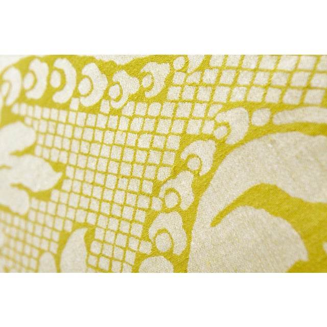 Early 21st Century Schumacher Anna Damask Acid Green Square Pillow 18x18- Pair For Sale - Image 5 of 8