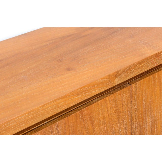 French Modern Cerused Oak and Leather Four-Door Credenza, Style of Jacques Adnet For Sale - Image 9 of 9