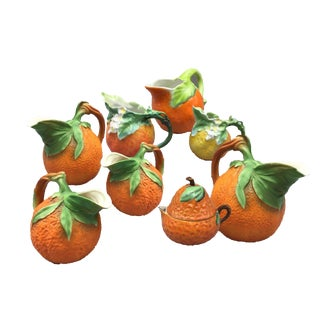 Mid-Century Royal Orange Citrus Blossom Porcelain International Serveware - Set of 8