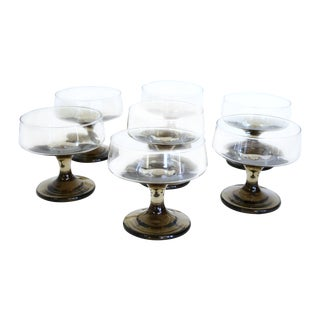 Smoke Brown Mid-Century Modern Cocktail Glasses - Set of 7 For Sale