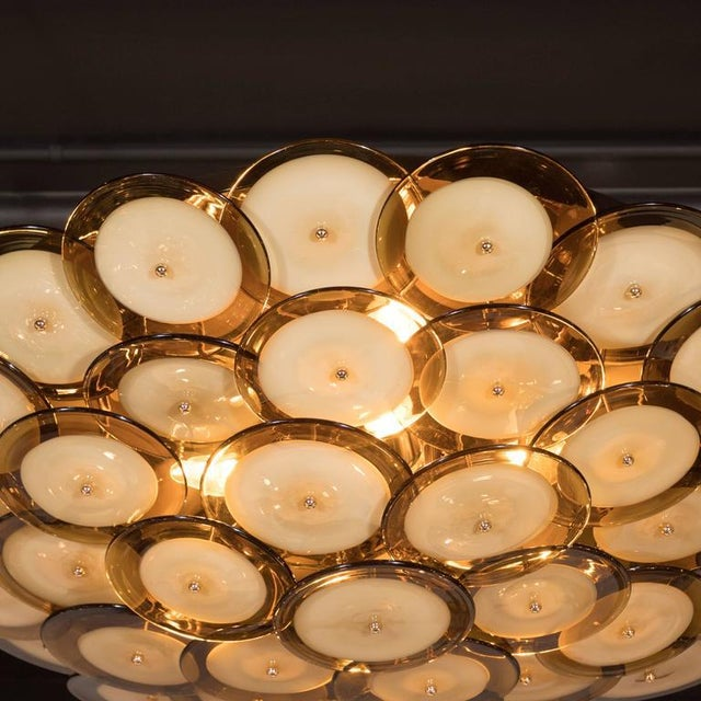 1920s Flush Mount Murano Disc Chandelier in Smoked Topaz with Brass Base For Sale - Image 5 of 8