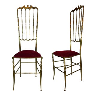1960s Traditional Chiavari Brass Chairs - a Pair For Sale