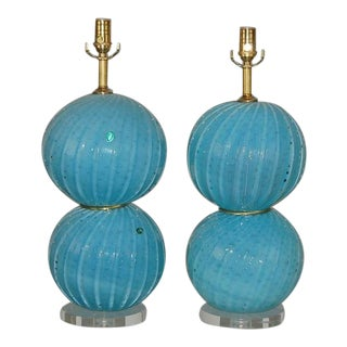 Vintage Blue Opaline Murano Lamps For Sale