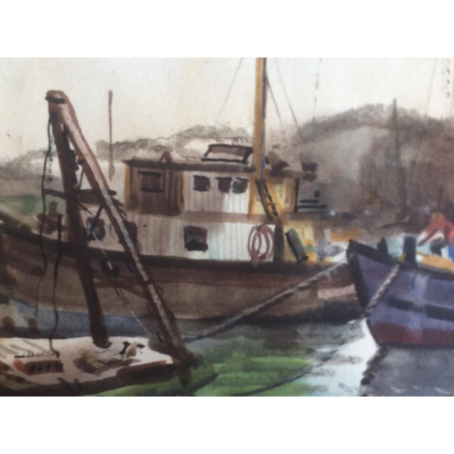 Brightly painted assortment of fishing boats in shallow harbor. Mid Century watercolor by Alfred A. Cunningham, San...