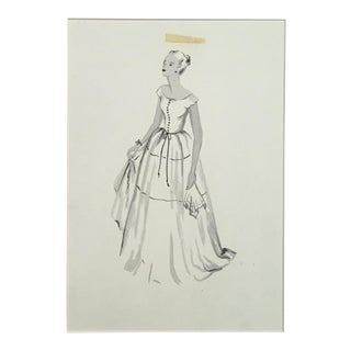 1950s Pen & Ink Advertising Art - Woman in Gown by Barbara Crist For Sale