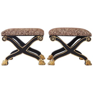 James Mont Style Hollywood Regency Curule Ottoman Benches For Sale