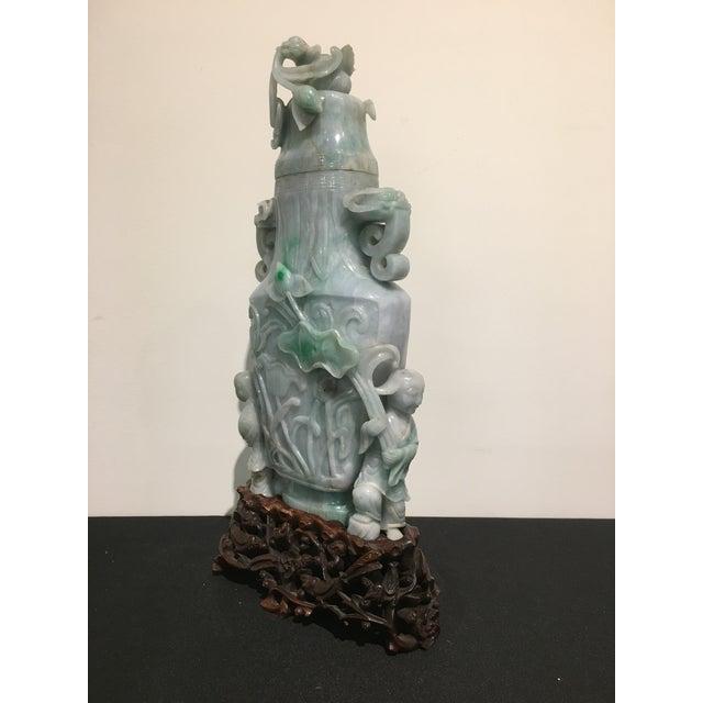 Exquisite Large Chinese Republic Period Covered Jadeite Vase Decaso