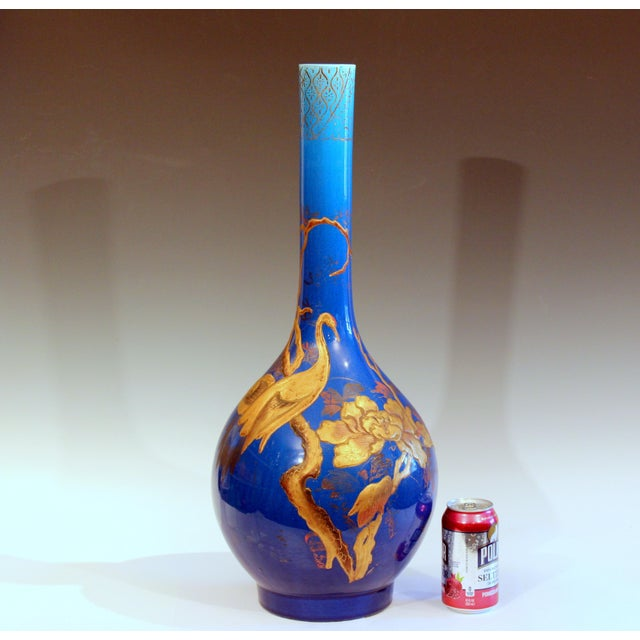 Blue Antique Kyoto-Awaji Japanese Pottery Bottle Vase With Lacquer Decoration For Sale - Image 8 of 10