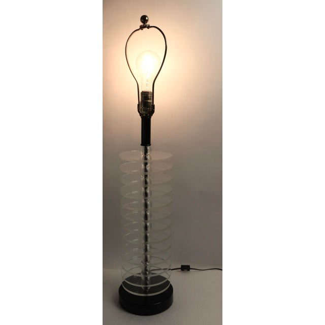 Lucite Disk and Glass Ball Table Lamp For Sale In New York - Image 6 of 9