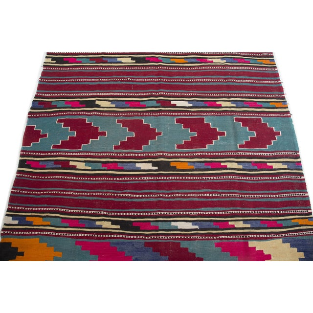 "Turkish Kilim Flat-Weave Runner Rug - 6'2"" x 14' - Image 7 of 8"
