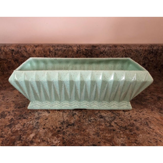 Mid-Century Modern Final Price! Vintage Light Green Brush Usa Pottery Planter For Sale - Image 3 of 10