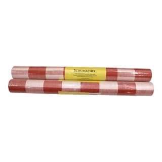 Schumacher Wallpaper Grasscloth Check Paperweave in Coral Red - 2 Double Rolls For Sale