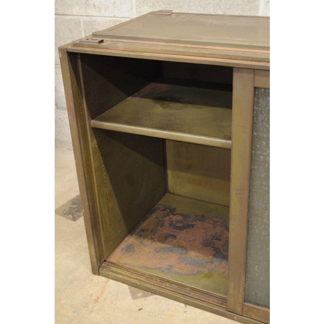 Remington Rand Industrial Green Steel Metal Stacking Barrister Storage Cabinet A For Sale - Image 4 of 12