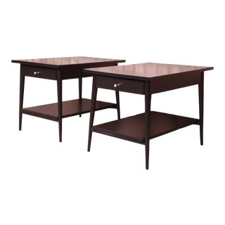 Paul McCobb Planner Group Black Lacquered Nightstands or End Tables, Newly Refinished For Sale