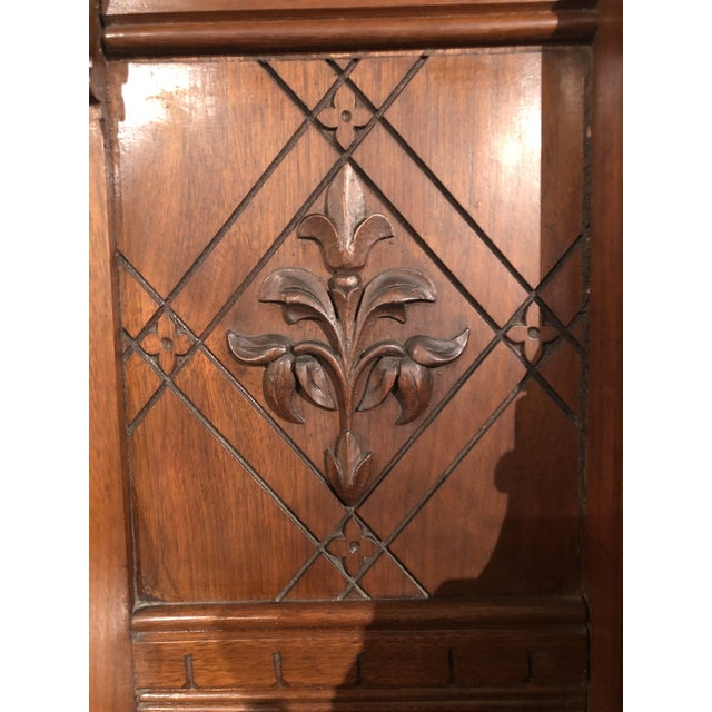 Wood Antique Victorian Buffet With Burlwood and Marble Top For Sale - Image 7 of 12
