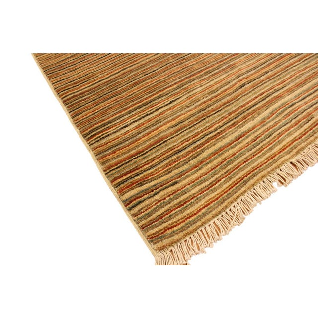 Textile Gabbeh Peshawar Nereida Tan/Rust Hand-Knotted Wool Rug -3'1 X 5'1 For Sale - Image 7 of 8