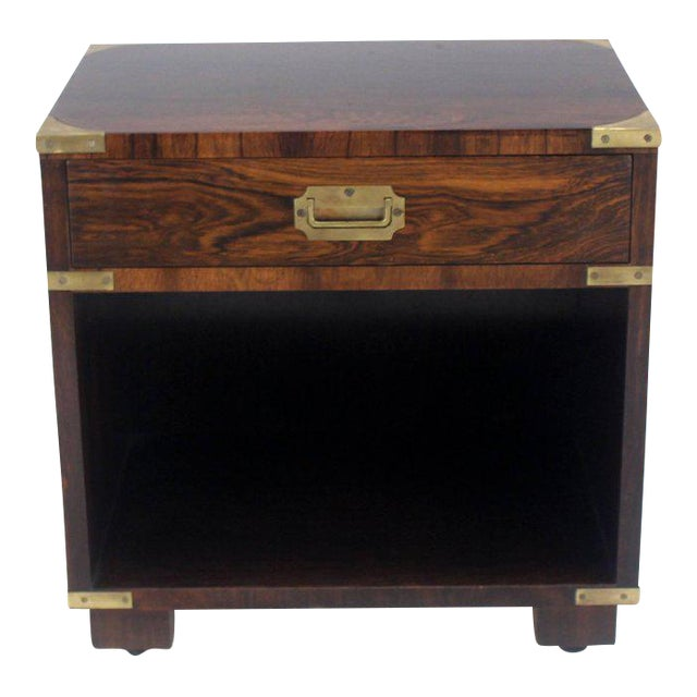 Rosewood Brass Campaign End Table Nighstand Cabinet John Stuart For Sale